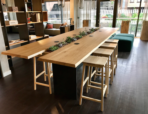 living edge furniture rental. Within The Furniture Package, We Produced Industrial Floor To Ceiling Mild Steel Shelving Units, And A Beautiful Bar Height Communal, Live-edge Table, Living Edge Rental